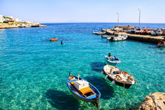 Łodzie rybackie w Levanzo wyspie, Włochy Obrazy Royalty Free