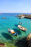 Łodzie rybackie w morza śródziemnomorskiego Levanzo wyspie Fotografia Stock