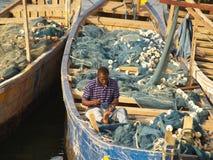 Łodzie rybackie w przylądka wybrzeżu, Ghana, Afryka Zdjęcia Stock
