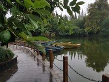 Łodzie w Chengdu osob parku obrazy stock