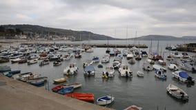 Łodzie w schronienia Lyme Regis Dorset Anglia UK Angielskim południowym wybrzeżu zbiory wideo