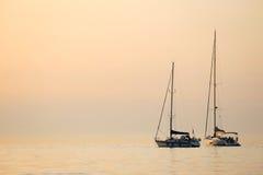 Łodzie zakotwiczać w Adriatyckim morzu Obraz Royalty Free