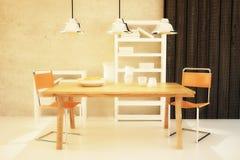 Łomotać stół i krzesła w pokoju ilustracji