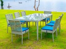 Łomotać stołowego set z Seascape fotografia royalty free