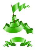 Łopotanie flaga i tasiemkowy zielony colour royalty ilustracja