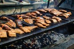Łosoś polędwicowy na lato grillu zdjęcia stock