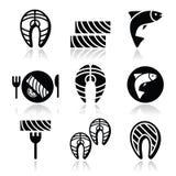 Łosoś ryba i posiłek - karmowe ikony ustawiać Obrazy Stock