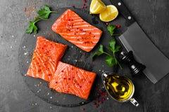 Łosoś rybi świeży łosoś Surowy łososiowy rybi polędwicowy Zdjęcie Royalty Free