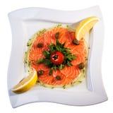 Łosoś z cytryną i czereśniowym pomidorem Obraz Royalty Free