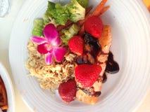 Łosoś z ryż i veggies Fotografia Royalty Free