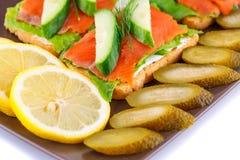 Łososiowe kanapki Fotografia Stock