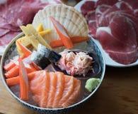 Łososiowego Sashimi jedzenia Japoński set obrazy royalty free