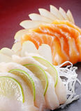 łososiowej i białej ryba sashimi zdjęcie stock