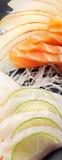 Łososiowej i Białej ryba Sashimi suszi fotografia stock