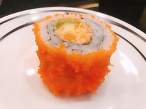 Łososiowej rolki avocado Japan szparagowy jedzenie zdjęcia royalty free