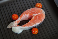 Łososiowi i czereśniowi pomidory Fotografia Stock