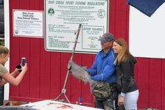 Łososiowy połów w zakotwienie Alaska fotografia royalty free