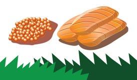 Łososiowy roe i łososia sashimi   ilustracji