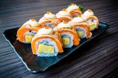 Łososiowy suszi, Japoński karmowy wyśmienicie menu, winieta skutek Obrazy Royalty Free