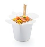 Łososiowy teriyaki z japońskimi ryż w pudełku odizolowywającym Fotografia Royalty Free