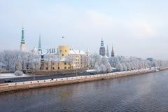 łotwa Riga Ryski pejzaż miejski w zimie Obraz Stock