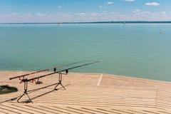 Łowiący na Jeziornym Balaton, Węgry Zdjęcia Royalty Free