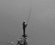 Łowiący w Zachodnim jeziorze, Hanoi Fotografia Royalty Free