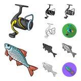 Łowić i spoczynkowa kreskówka, czerń, mieszkanie, monochrom, kontur ikony w ustalonej kolekci dla projekta Sprzęt dla łowić wekto ilustracja wektor