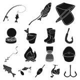 Łowić i spoczynkowe czarne ikony w ustalonej kolekci dla projekta Sprzęt dla łowić wektorową symbolu zapasu sieci ilustrację ilustracji