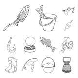 Łowić i spoczynkowe kontur ikony w ustalonej kolekci dla projekta Sprzęt dla łowić wektorową symbolu zapasu sieci ilustrację ilustracji