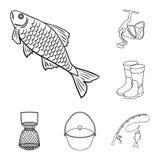 Łowić i spoczynkowe kontur ikony w ustalonej kolekci dla projekta Sprzęt dla łowić wektorową symbolu zapasu sieci ilustrację royalty ilustracja