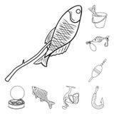 Łowić i spoczynkowe kontur ikony w ustalonej kolekci dla projekta Sprzęt dla łowić wektorową symbolu zapasu sieci ilustrację ilustracja wektor