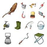 Łowić i spoczynkowe kreskówek ikony w ustalonej kolekci dla projekta Sprzęt dla łowić wektorową symbolu zapasu sieci ilustrację ilustracji