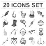 Łowić i spoczynkowe monochromatyczne ikony w ustalonej kolekci dla projekta Sprzęt dla łowić wektorową symbolu zapasu sieci ilust ilustracja wektor