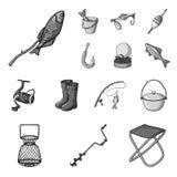 Łowić i spoczynkowe monochromatyczne ikony w ustalonej kolekci dla projekta Sprzęt dla łowić wektorową symbolu zapasu sieci ilust ilustracji