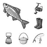 Łowić i spoczynkowe monochromatyczne ikony w ustalonej kolekci dla projekta Sprzęt dla łowić wektorową symbolu zapasu sieci ilust royalty ilustracja