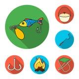 Łowić i spoczynkowe płaskie ikony w ustalonej kolekci dla projekta Sprzęt dla łowić wektorową symbolu zapasu sieci ilustrację royalty ilustracja