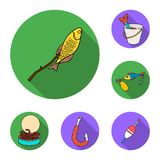 Łowić i spoczynkowe płaskie ikony w ustalonej kolekci dla projekta Sprzęt dla łowić wektorową symbolu zapasu sieci ilustrację ilustracja wektor