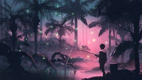Łowić na nocy bagnie ilustracji