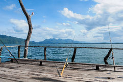 Łowić na spławowym houseboat - Tajlandia Zdjęcie Royalty Free