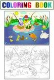 Łowić ojca i syna na rzecznej kolorystyce dla dziecko kreskówki wektoru ilustraci Obraz Royalty Free