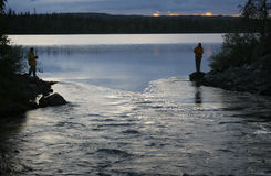 Łowić przy zmierzchem Zdjęcie Stock