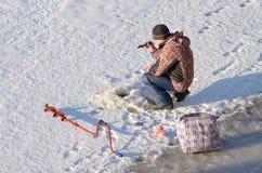 Łowić w zimie Obraz Royalty Free