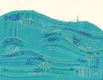 Łowi w oceanie, dekoracyjnej tkaniny podaniowa grunge stylu pocztówki ilustracja, broderia fotografia stock