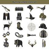 Łowieckie proste ikony ustawiać Obrazy Royalty Free