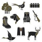 Łowieckie proste ikony ustawiać Zdjęcie Royalty Free