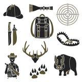 Łowieckie proste ikony ustawiać Zdjęcie Stock