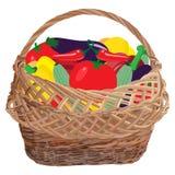 Łozinowy kosz pełno świezi warzywa, wektorowa płaska ilustracja zdjęcia stock
