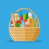 Łozinowy kosz pełno sklepów spożywczych produkty ilustracja wektor