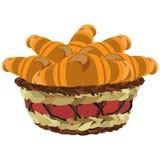 ?ozinowy kosz z croissants, wektorowa p?aska ilustracja royalty ilustracja